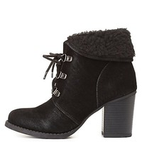 Shearling-Cuffed Block Heel Hiking Booties by Charlotte Russe - Black