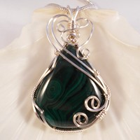 Wire Wrapped Pendant, Malachite Necklace, Green, Handmade Jewelry