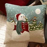 Snowman Embroidered Pillow Cover