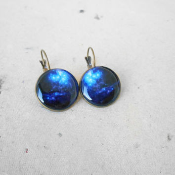 Space earrings,Galaxy earrings,Space jewelry,Galaxy jewelry,Solar System,Dangling earrings,Small earrings,Nebula,Everyday earrings,Resin ear