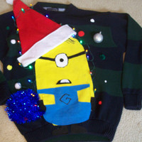 "Extra Large( XL) Lite UP Ugly Christmas Sweater  Men  Fun Minions Holiday Sweater "" with lights Never before seen"