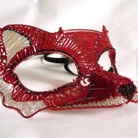 Red fox masquerade mask, handmade