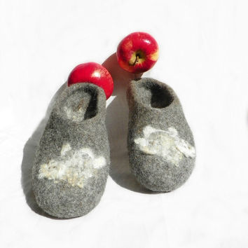 Felted slippers low counter, home shoes, women shoes, Handmade felted eco grey slippers, EU 37 UK 4 US 6.5