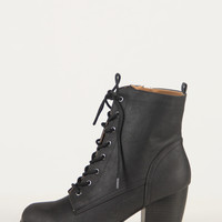 Pointy Toe Lace Up Booties - Black - Black /