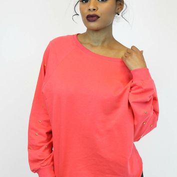 Star Studded Coral Sweatshirt | Double Zero