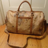 Vintage Globe Map Vinyl Vegan Duffle Duffel Gym Shoulder Bag Hold All Carry On