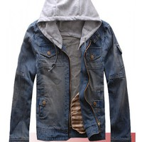 Men Blue Jean Zipper Jacket with Snap-on Cap M/L/XL/XXL@ X1702NH11S0J03