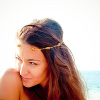 Last one Boho Chic Mustard gold brown beaded crochet headband strand. Versatile necklace / bracelet / anklet / hair band.