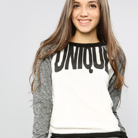 UNIQUE MARLED SLEEVE SWEATSHIRT