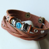 Hand-woven fashion brown genuine leather bracelet with multiple beads BY30