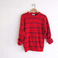 vintage red and blue striped sweater. oversized slouchy pullover sweater. wool sweater size L