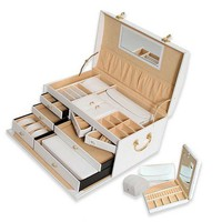 Morelle Large Leather Domed Jewelry Box With Three Takeaway Cases - A22636