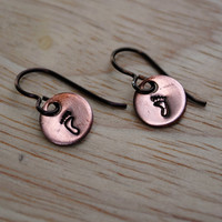 Footprint Mommy Earrings, Copper with Niobium Hypoallergenic Ear Wires for Sensitive Ears