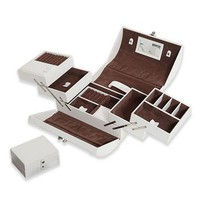 Morelle Expandable White Leather Jewelry Box With Takeaway Case - A22651