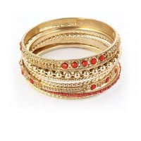 Gold Tone Bangles with Diamante and Red Bead Embellishment