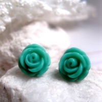Pretty Teal Flower Earrings