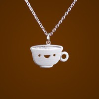 Happy Teacup Necklace by marymaryhandmade on Etsy