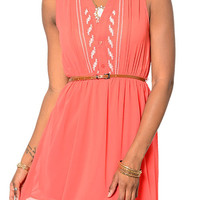 Coral Romantic Sheer Chiffon Crochet Front Dress With Belt