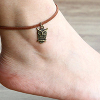 cute owl leather anklets( can be a bracelet)