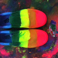 Neon Rainbow Vans Slip-on shoes