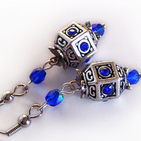 Silver Blue Rhinestone Earrings By ZephyrOfJune