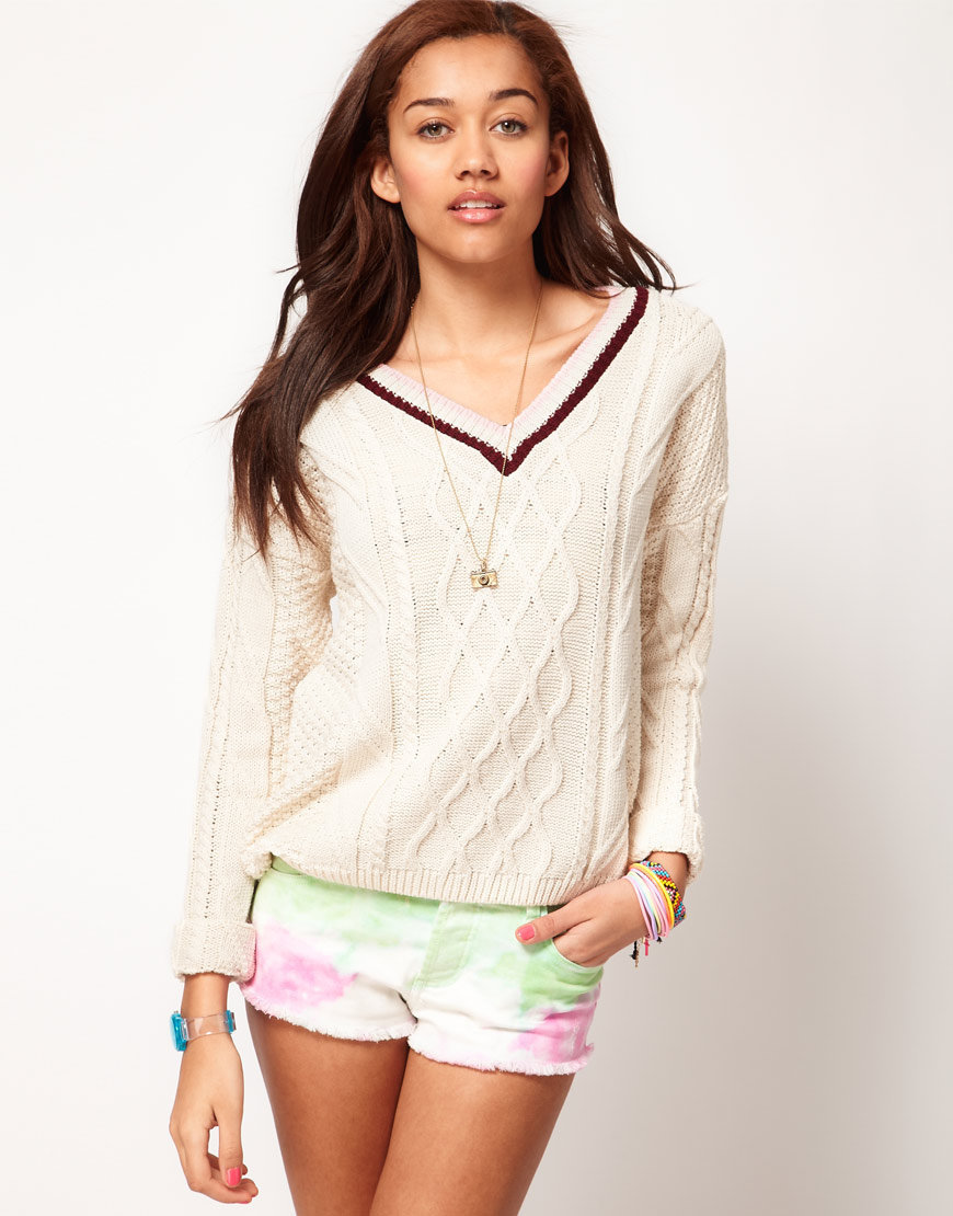 River Island Cream Cricket Jumper at asos.com