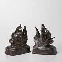 FOSSIL?- Fossil Finds By The Bay:Womens Metal Clipper Ship Bookends SDI4702