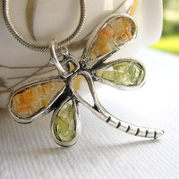 Orange Mosaic Stained Glass Dragonfly Necklace