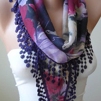 Purple Scarf with Purple Trim Edge