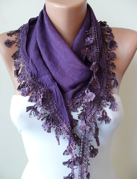 Purple Silky Scarf with Purple Trim Edge - New