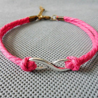 Jewelry bangle infinity bracelet ropes bracelet women bracelet girls bracelet with silver karma and cotton rope cuff bracelet SH-0453