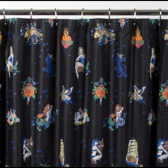 Sin in Linen Flash - Black - Shower Curtain
