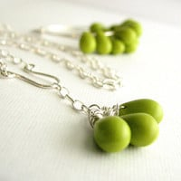 RESERVED for ALYSSA WALSH - Bridal Jewelry, Lime Green Sterling Silver Hoop Earrings and Necklace Set, Five Sets