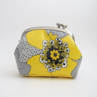 Frame Coin Purse - side lock frame pouch -yellow flower oilcloth