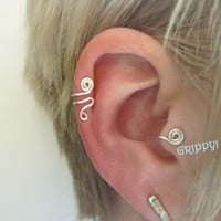 Ronin SET of RIGHT Ear Cuff & 'A' Tragus Cuff silver wire spiral