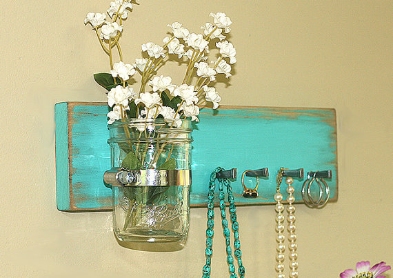 Jewelry Key Holder Wall Hanging Vintage Green Turquoise Jewelry Holder Rack Organizer Wall Vase Jar Earrings Necklace Key Rack