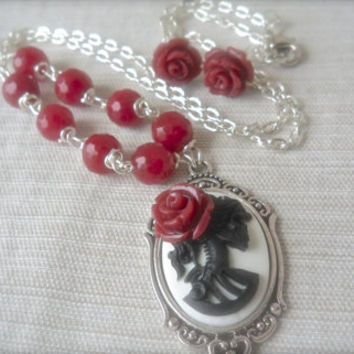 Cranberry Crush Lolita Rose Jewelry set Day of the Dead Gothic Skeleton Jade Silver wrapped Rose Red Maroon Burgundy Victorian fashion