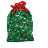 Drawstring Christmas Gift Bag, Fully lined drawstring bag, Forest animal, Green and Red