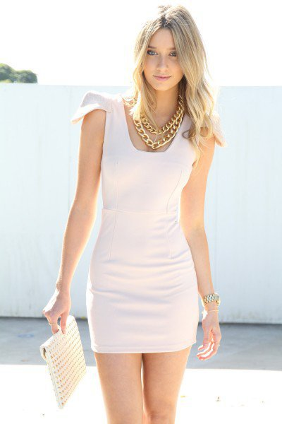SABO SKIRT  Nude Cap Sleeve Dress - $52.00