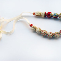 Fabric bead necklace strawberries and cream