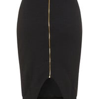 Black Zip Front Pencil Skirt - View All - New In