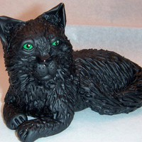 Realistic OOAK Custom Order Cat and Kitten Polymer Clay Sculpture