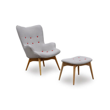 Paddington Chair and Ottoman Set with Red Buttons