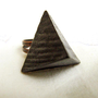 Trendy geometry ring- Shipping included - pine wood pyramid, adjustable brass ring base