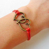 jewelry bangle love bracelet ropes bracelet women bracelet girls bracelet made of antique bronze hear to heart and red ropes  SH-0207