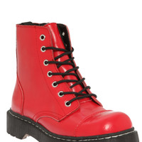 T.U.K Red Leather Combat Boots
