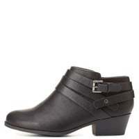 Belted Low Profile Ankle Boots by Charlotte Russe - Black