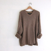 vintage oversized slouchy pullover sweater. men's light brown cotton sweater. size XL