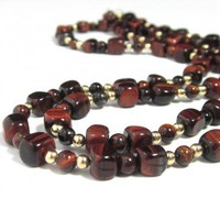 Extra long necklace converts to choker red brown Tiger Eye stone