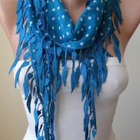 Blue and White Polka Dot  Scarf with Blue Trim Edge